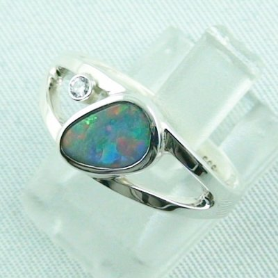 3.79 gr opalring, ladies ring, silverring with semi black opal 1.06 ct, pic 2