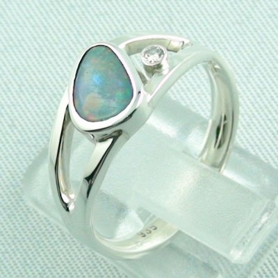 3.79 gr opalring, ladies ring, silverring with semi black opal 1.06 ct, pic 3
