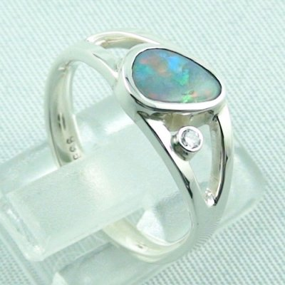 3.79 gr opalring, ladies ring, silverring with semi black opal 1.06 ct, pic 5