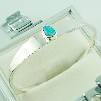 28.81 gr opalbangle, silver bangle with Black Crystal Opal 1.86 ct, pic3