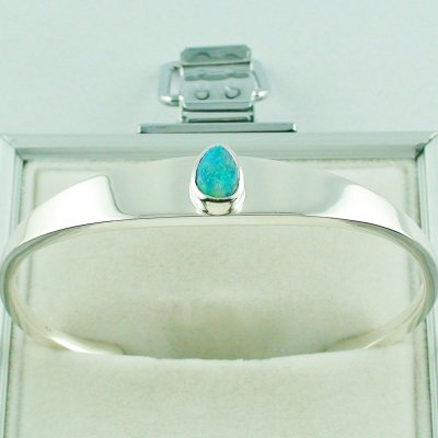 28.81 gr opalbangle, silver bangle with Black Crystal Opal 1.86 ct, pic4