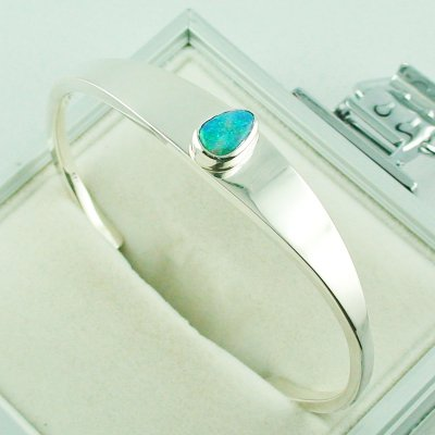 28.81 gr opalbangle, silver bangle with Black Crystal Opal 1.86 ct, pic5