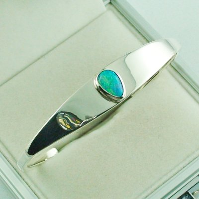 28.81 gr opalbangle, silver bangle with Black Crystal Opal 1.86 ct, pic6