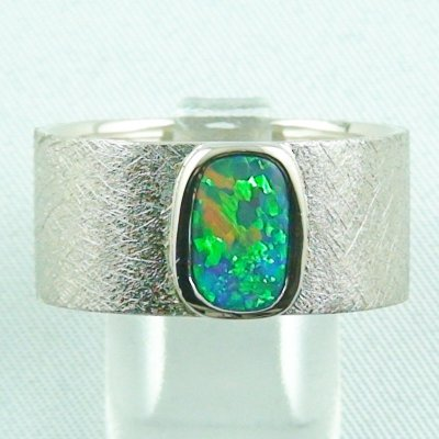 17.79 gr opalring, whitegoldring with Black Crystal Opal 1,34 ct, men's ring, pic1