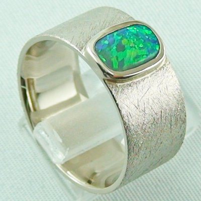 17.79 gr opalring, whitegoldring with Black Crystal Opal 1,34 ct, men's ring, pic5