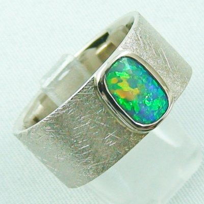 17.79 gr opalring, whitegoldring with Black Crystal Opal 1,34 ct, men's ring, pic6