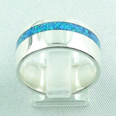silverring with opal inlay ocean blue, opalring 9.82 gr, ladies ring, pic4