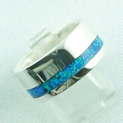 silverring with opal inlay ocean blue, opalring 9.82 gr, ladies ring, pic6