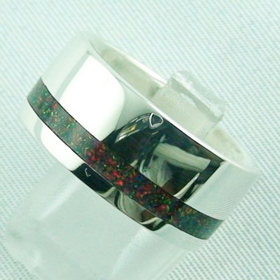 silverring with opal inlay Black Flame, opalring 10.77 gr, ladies ring, pic2