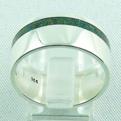 silverring with opal inlay Black Flame, opalring 10.77 gr, ladies ring, pic4