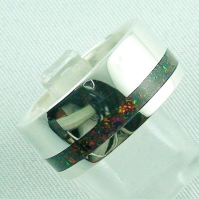 silverring with opal inlay Black Flame, opalring 10.77 gr, ladies ring, pic6