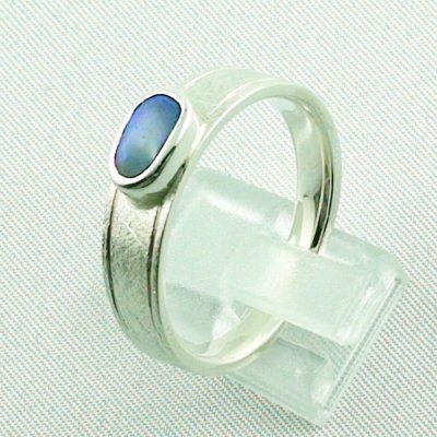 ❤️7.52 gr opalring, silverring with black opal 0.91 ct, men's ring, pic3