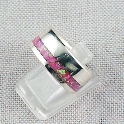 6,97 gr Silberring, Opal Inlay Hot Pink, Damenring, Bild2