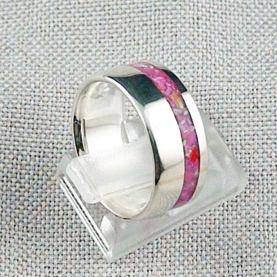 6,97 gr Silberring, Opal Inlay Hot Pink, Damenring, Bild5