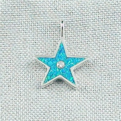 1,62 gr Opal Inlay Star-Pendant, Diamond, Silver Pendant, pic1
