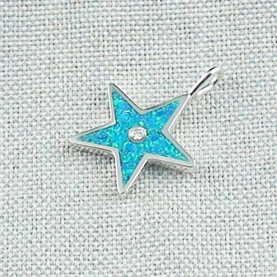 1,62 gr Opal Inlay Star-Pendant, Diamond, Silver Pendant, pic2
