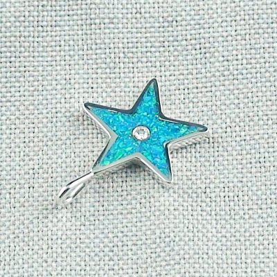 1,62 gr Opal Inlay Star-Pendant, Diamond, Silver Pendant, pic5