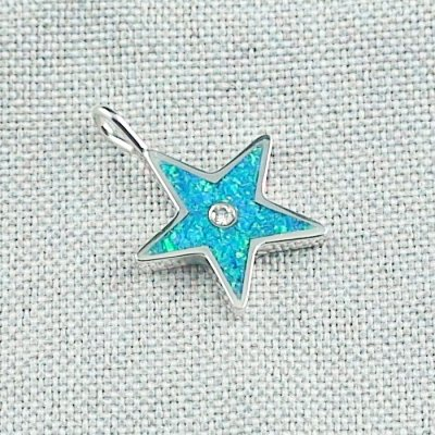1,62 gr Opal Inlay Star-Pendant, Diamond, Silver Pendant, pic6