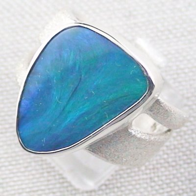 ❤️15.34 gr Opalring, Silverring with Black Opal 1,20 ct, Men's Ring, pic2