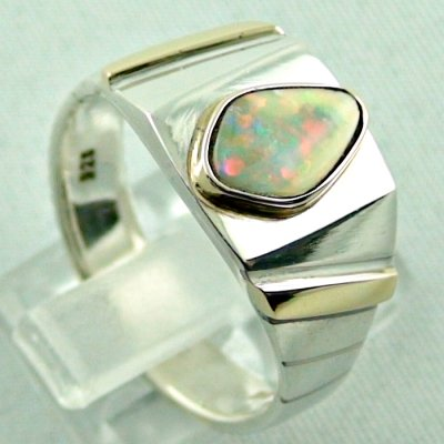 opalring, 11.10 gr goldring silverring with white opal 1.40 ct, pic5