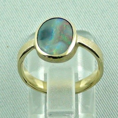 4.06 gr. opalring, 14k gold ring with opal, 1.49 ct semiblackopal, pic4