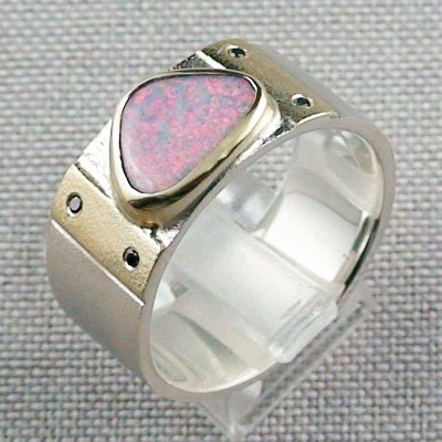 Opalring, 12,48 gr Goldring Silberring mit White Opal 1,66 ct, Bild3
