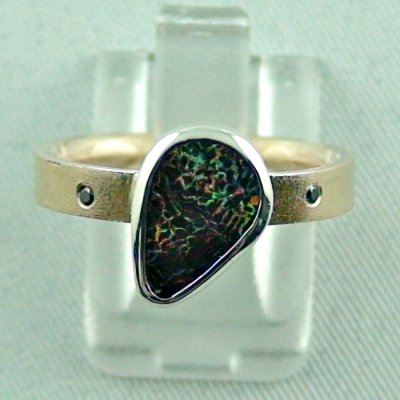 opalring, 8k goldring 4.83 gr. with opal, boulder opal 1.91 ct, pic1