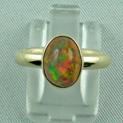 4.96 gr. opalring, 14k / 585 goldring with fire opal, ladies ring, pic1