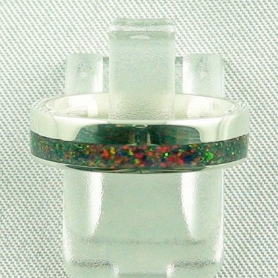 silverring with opal inlay black flame, opalring 3.80 gr. bandring, pic1