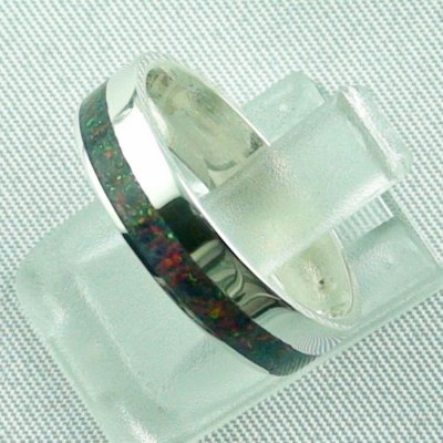 silverring with opal inlay black flame, opalring 3.80 gr. bandring, pic2