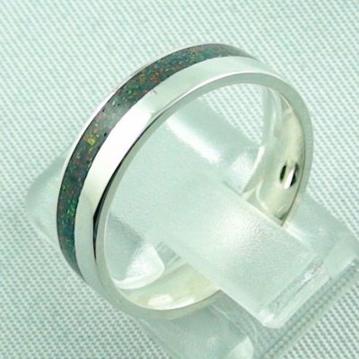 silverring with opal inlay black flame, opalring 3.80 gr. bandring, pic3