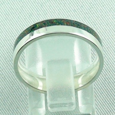 silverring with opal inlay black flame, opalring 3.80 gr. bandring, pic4
