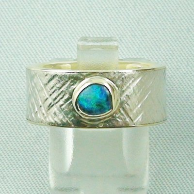 9.93 gr opalring, goldring, silverring with black opal 0.50 ct, pic1