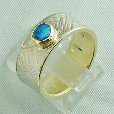 9.93 gr opalring, goldring, silverring with black opal 0.50 ct, pic3
