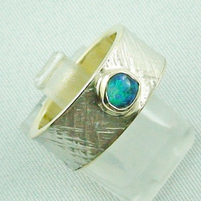 9.93 gr opalring, goldring, silverring with black opal 0.50 ct, pic6