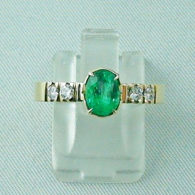 Emeraldring, goldring with emerald 585 / 14k yellow gold 4.94 gr, pic1
